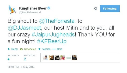 Kingfisher ReTweet of KFBeerU