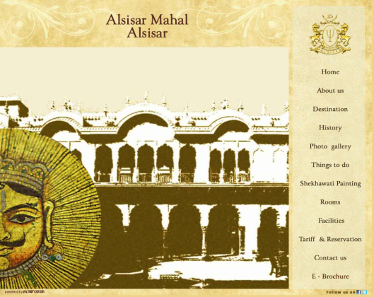 Alsisar Mahal Old Landing Page